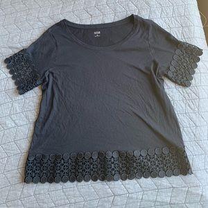 Ana crochet black top size medium